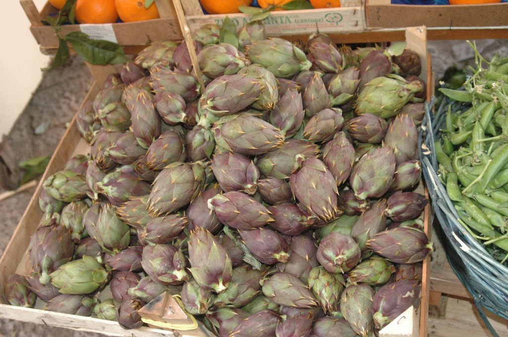 Spring artichokes,  small and tender.  Photo: Julia della Croce