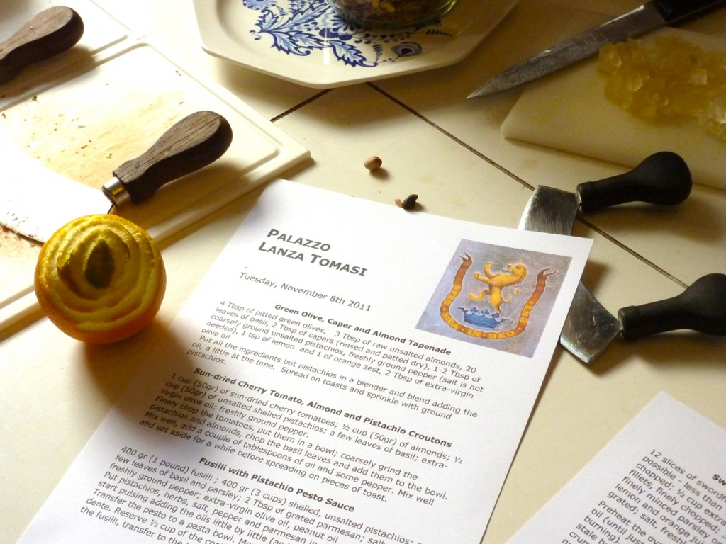 Recipes for lunch at A Day Cooking with the Duchess, Palazzo Lanza Tomasi, Palermo  Photo: Julia della Croce