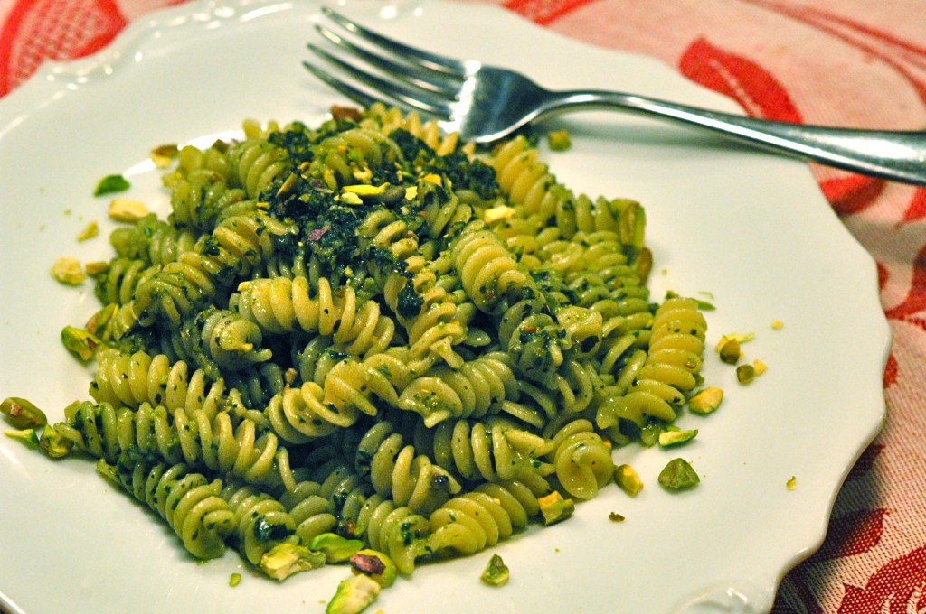 Fusilli with Sicilian Pistachio Pesto, by Julia della Croce  Photo: Nathan Hoyt