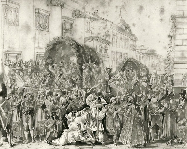 Roman carnival,  by Bartolomeo Pinelli, 1821.  From Pasta Classica, by Julia della Croce (Chronicle Books)