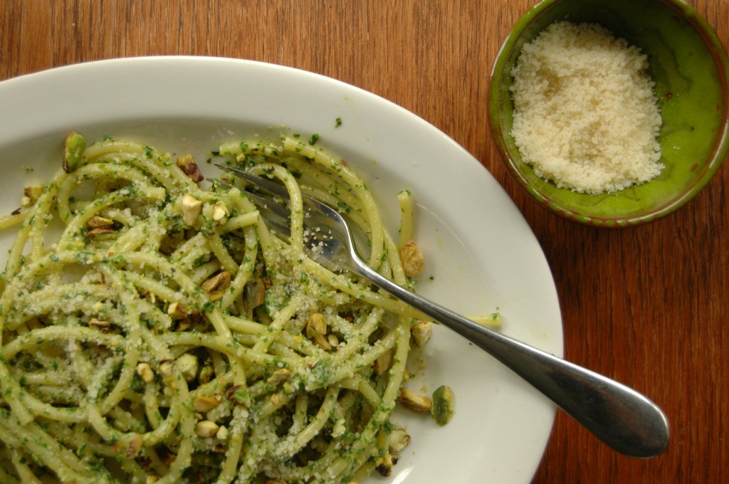 Bucatini with Pistachio Pesto.  Photo: Nathan Hoyt
