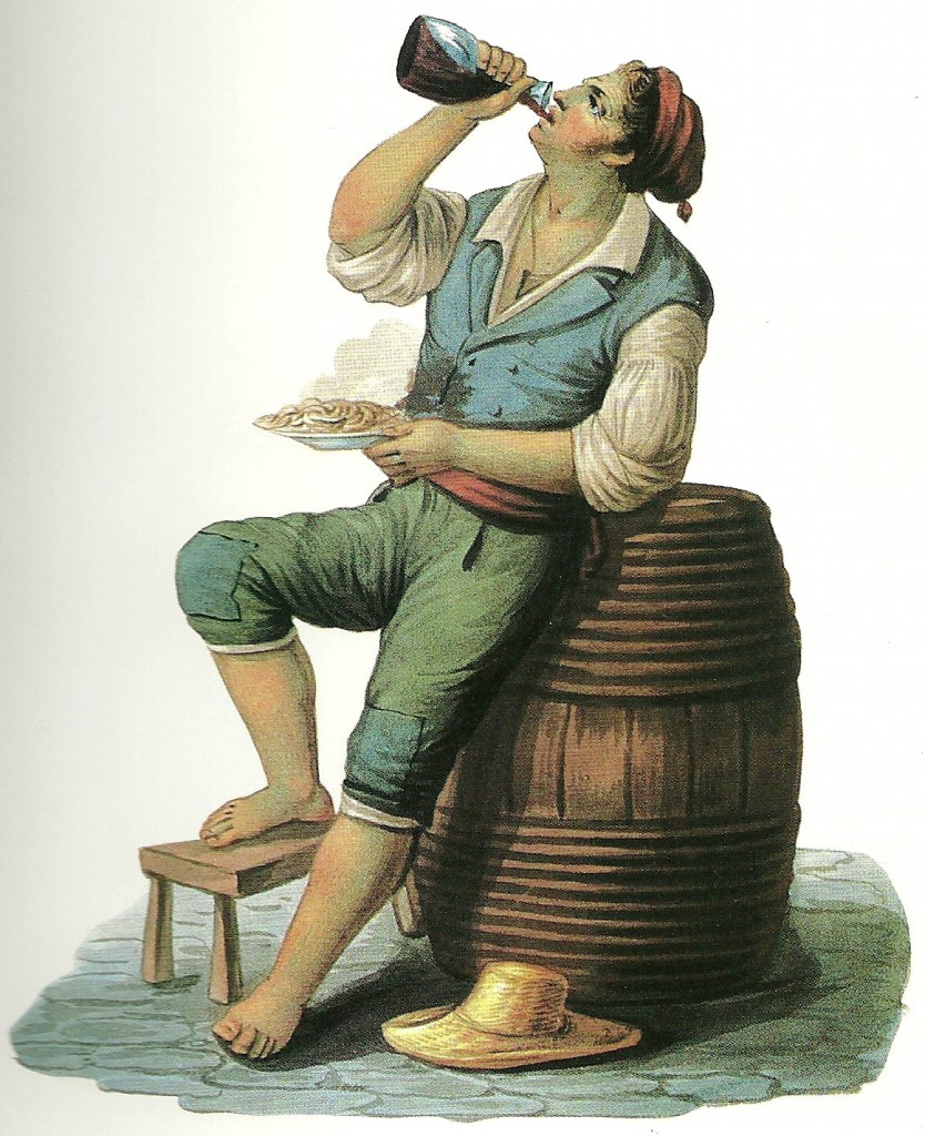A man eating vermicelli with tomato, the prototype of every marriage of pasta and tomato every invented. Illustration by by Percival Seaman, 1843. From Pasta Classica (Chronicle Books), by Julia della Croce, courtesy W. Graham Arader III, New York