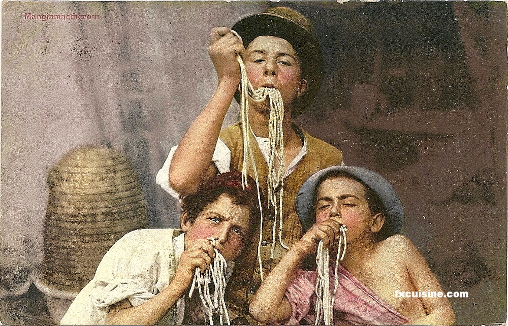 "A postcard from Naples, c. late 1800s, showing mangiamaccheroni, ""macaroni eaters"" (see article in Zester Daily."
