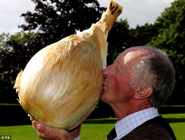 Proud farmer, Peter Glazebrook smashed his own record for the world's largest onion.