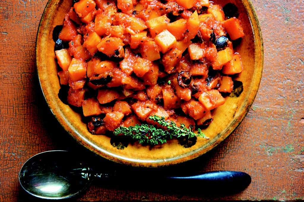 My heirloom recipe for savory Pumpkin Stew with Oil-Cured Olives, Tomato, and Garlic, from Italian Home Cooking: 125 Recipes to Comfort Your Soul (Kyle Books) Photo: Hirsheimer & Hamilton