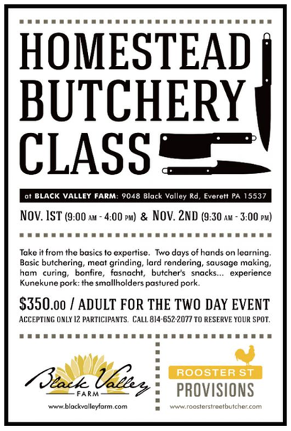 Rooster Street holds butchery and sausage-making classes.