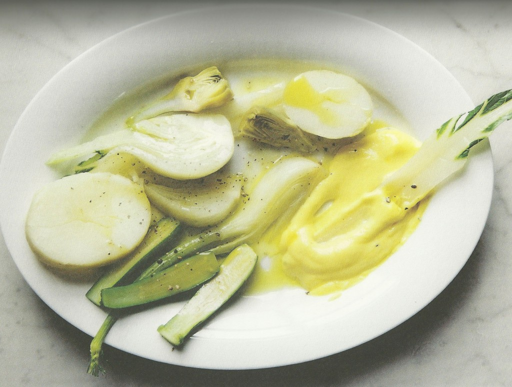 Poached Vegetables with Savory Zabaione  Photo: Christopher HIrsheimer in Pronto!