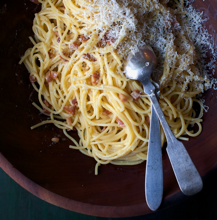 The Authentic Spaghetti alla Carbonara. Credit: Hirsheimer & Hamilton in Italian Home Cooking: 125 Recipes to Comfort Your Soul, by Julia della Croce (Kyle Books)