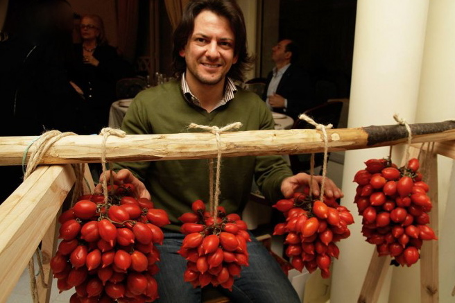 "Piennolo DOP tomatoes are picked in clusters and hung for several months in the sun. Courtesy: Ristorante ""President,"" Pompeii (Naples)"