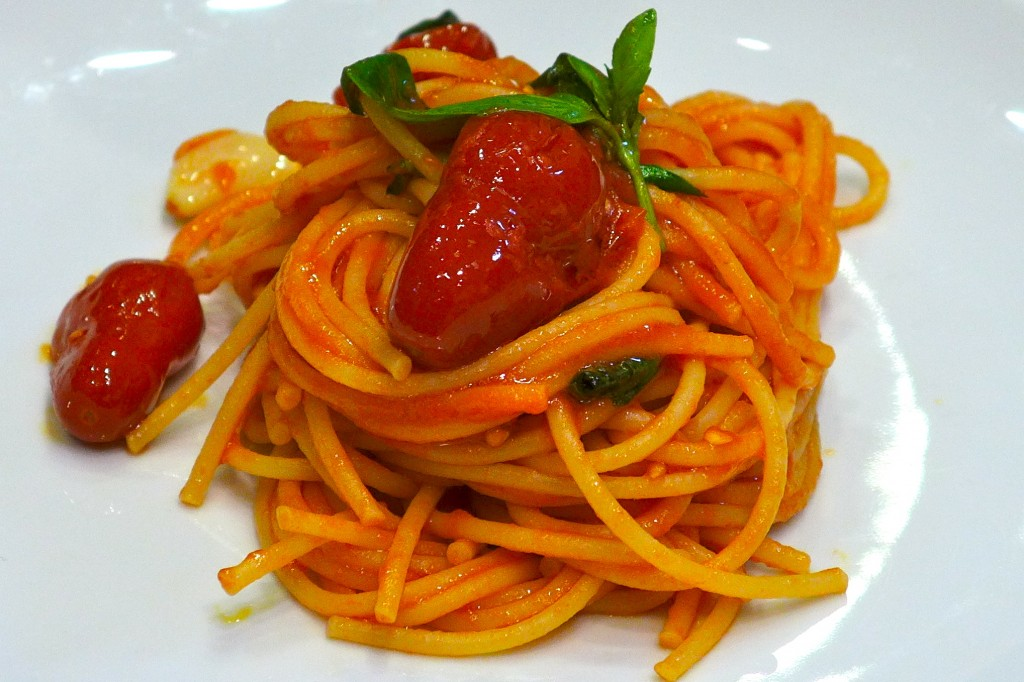 "Chef Luca's spaghetti al pomodoro con basilico with dattterini (""little dates"" after their shape) would make you realize you might have never tasted the real spaghetti al pomodoro con basilico before."