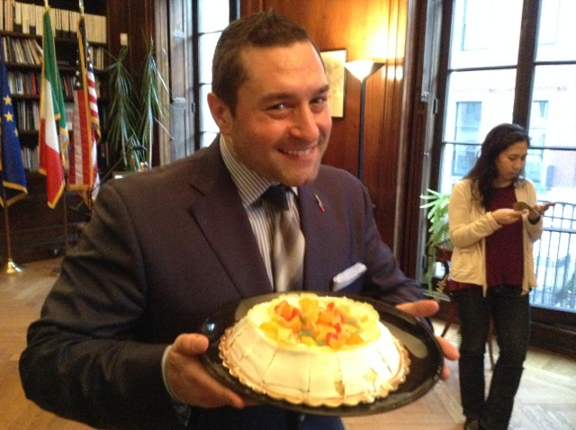Gennaro Pecchia with a cassata sicilian a from Villabate bakery in Brooklyn. | Photo: Julia della Croce