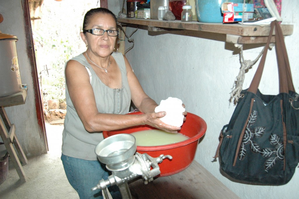 Tina Pérez making cuajada cheese in her kitchen. | Photo: Julia della Croce
