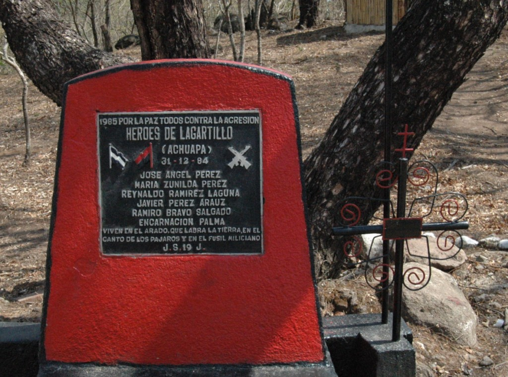 "Shrine to the heroes. Monument inscription: ""1985/For peace against all aggression/ The heroes of Lagartillo live at the plough, which works the earth to the song of the birds and the sound of the militia men's guns.""  