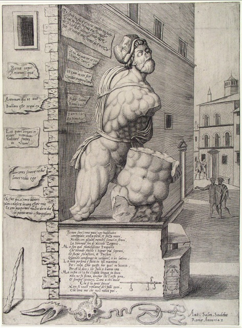Pasquino, mascot of free speech, by Cornelis Bos, Netherlands, 1642