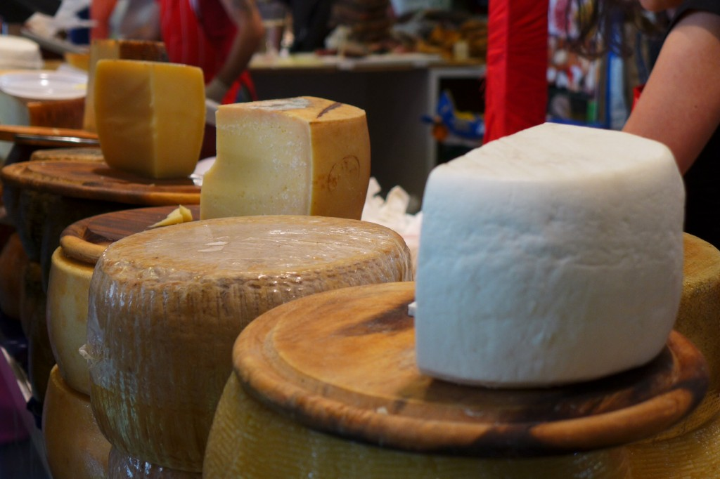 Sardinia's famous sheep cheeses, primo sale (first salting, foreground), semi staggionato (partially aged, center), staggionato (aged, background). Credit: Nathan Hoyt