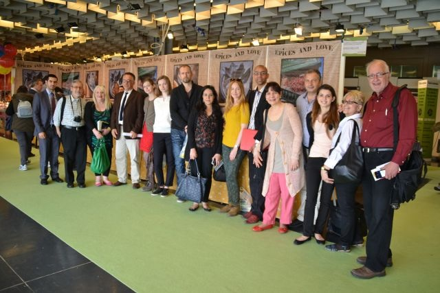 Journalists and buyers from around the world attended the 78th show of artisanal products in Florence, Italy this year. From the U.S., myself, front right, Greg Patent, Paolo Doino, to my right, Frances Mercado (Gustiamo), right, Franco Gallo (missing here), Marlena Soieler, left. Credit: Firenze Fiera