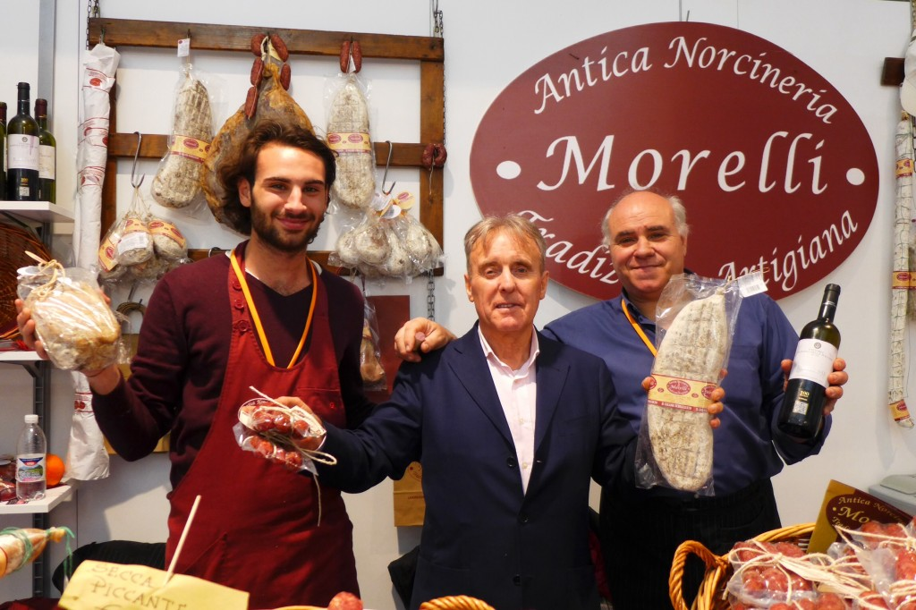Buyer, Franco Gallo of Panorama International, San Francisco, with the Morelli pork salumi artisans. Credit: Nathan Hoyt