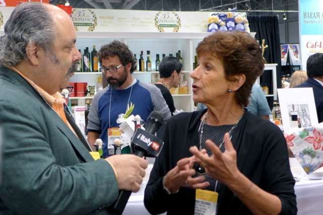 Journalist Fred Plotkin with Martina Colonna; Gabriele Lasagni, Pantelleria caper and zibbibo grape producer in the background.