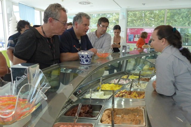 At the Gelato University lab, student samples for sale. | Photo: Julia della Croce