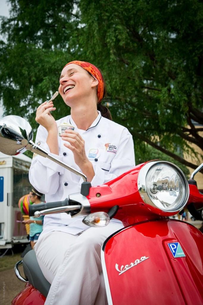 A gelato artisan taking a break on her Vespa, Rimini. | Photo: Dino Buffagani, Gelato World Tour