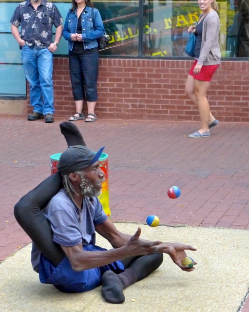 A limber juggler with an amazing bag of tricks.