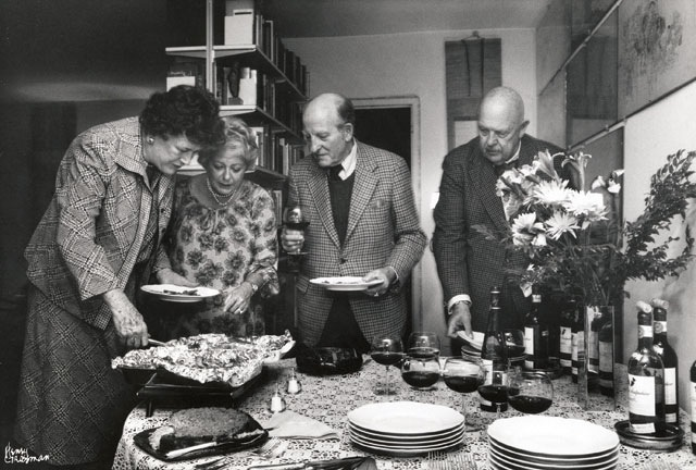 Marcella taught America about Italian food, and how to cook polenta. From left to right, Julia Child, Marcella, ___, James Beard. Courtesy, Victor Hazan