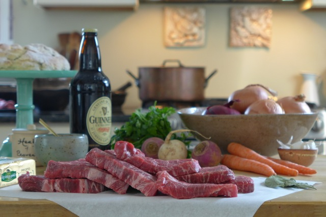 beef and Guinness stew ingredients