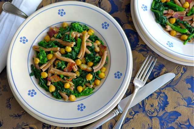 Gemelli pasta with rapini, bacon, and chick-peas. | Photo: Nathan Hoyt