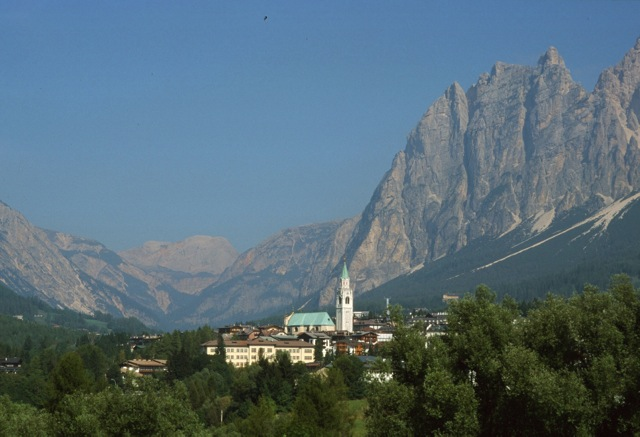 Cortina panorama. Land of polenta, potato, and Lamon beans.