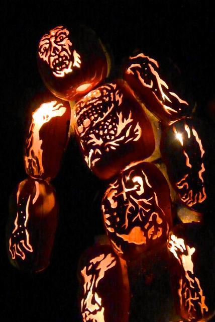 A towering jack-o'-lantern Frankenstein.