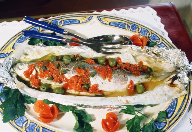 "Laverello, sweet water fish of Lake Garda, all ""acqua pazza,"" steamed in ""crazy water."""