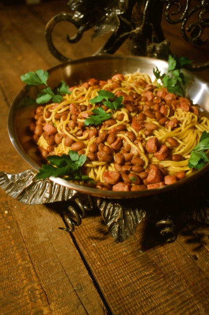 "Bigoli contadina (bigoli ""peasant style"") served in a silver platter, another primo at Loggia Rambaldi, Bardolino."