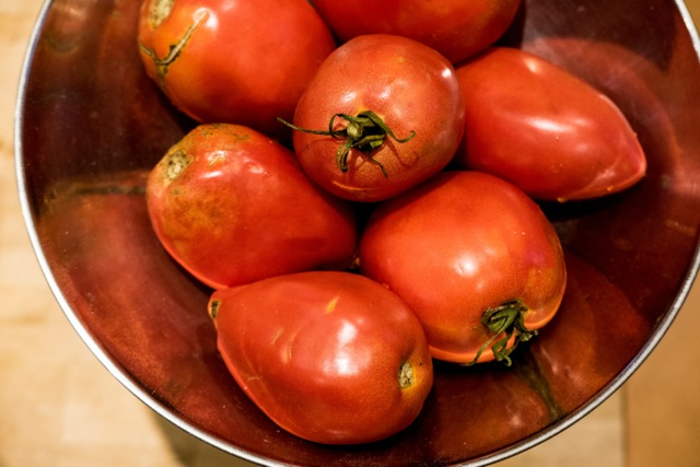 "Tomatoes for ""amatriciana."" detail. 