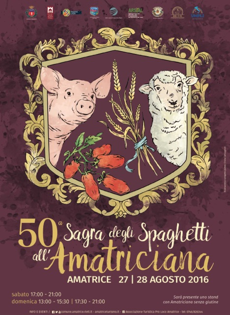 Poster advertising the 50th Spaghetti all'Amatriciana festival in Amatrice.