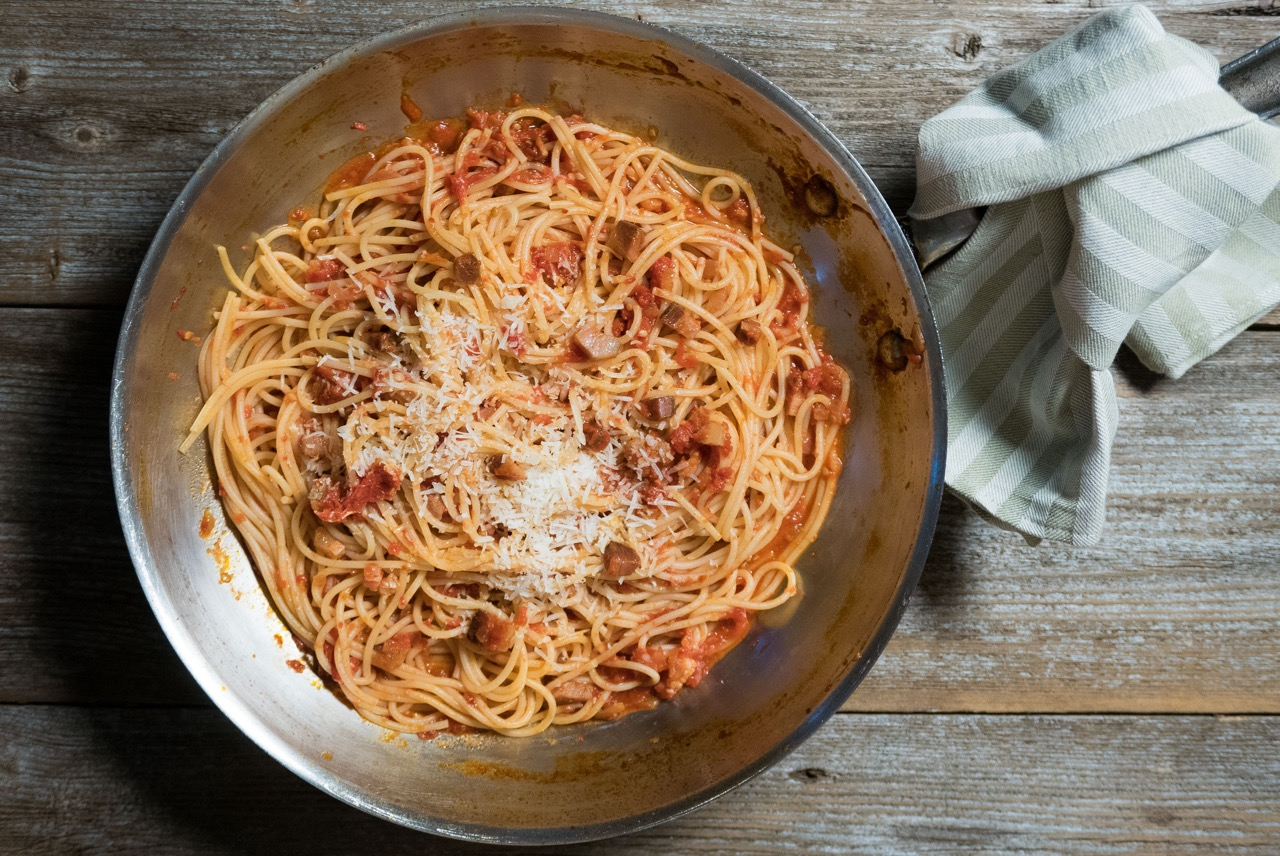 Spaghetti all'amatriciana. | Photo: Copyright NathanHoyt/Forktales 2016