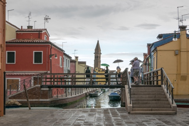 Crossing over onto the adjoining island of Burano. There are technically 180 islands in the lagoon, but if you figure the ones in that are joined like this, there are only 130.